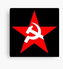 STAR, Red Star, Russia, Russian, Hammer and sickle, in five leg star. Communism, BLACK Canvas Print