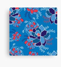Hand drawn floral seamless pattern in blue colors Canvas Print