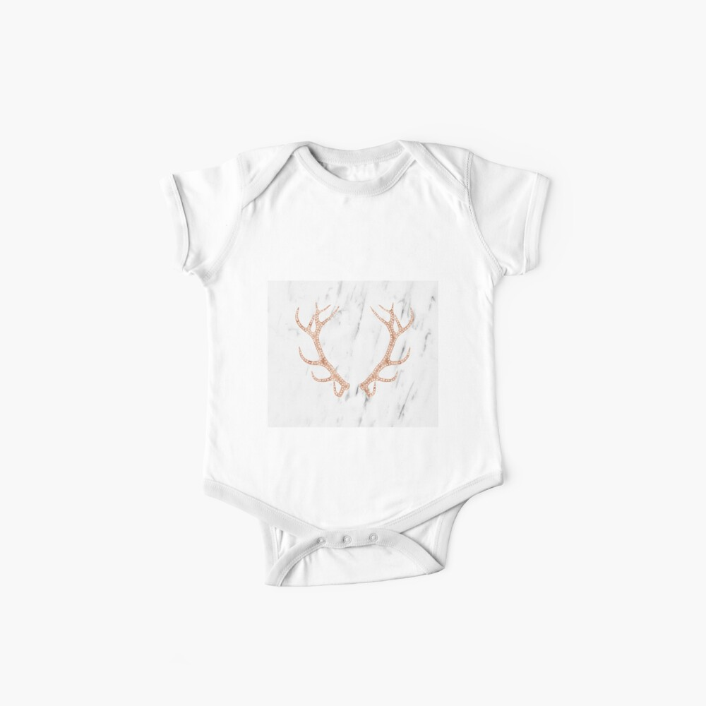 Astas de oro rosa en mármol blanco suave Bodies para bebé