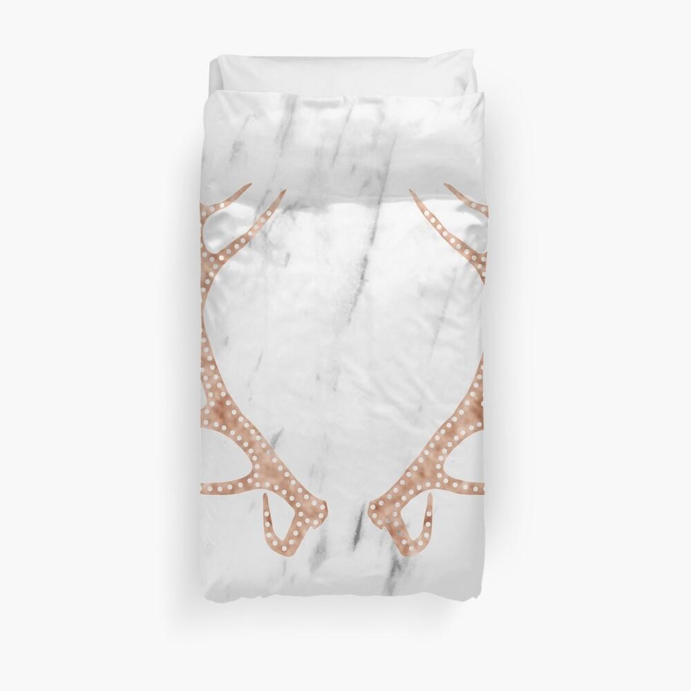 Astas de oro rosa en mármol blanco suave Funda nórdica