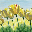 Yellow Sunlit Tulips Dancing in the Wind by chromaddict
