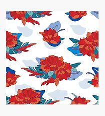 Hand drawn floral seamless pattern inspired by Asia and Japan  Photographic Print