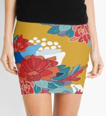 Hand drawn floral seamless pattern inspired by Asia and Japan  Mini Skirt