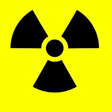 ATOMIC, Radioactive, Danger, Hazard, Warning, trefoil, symbol, in black & yellow by TOMSREDBUBBLE