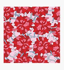 Hand drawn floral seamless background pattern in red and pink colors Photographic Print