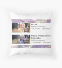 I'm okay but have crippling anxiety  Throw Pillow