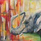 Elephant with Modern Colorful Background by chromaddict