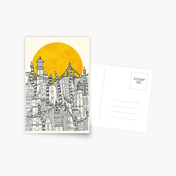 Große Sonne Kleine Stadt Postkarte