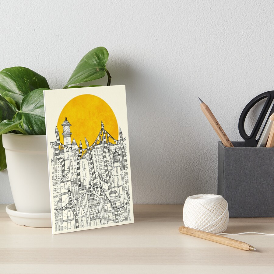Big Sun Small City Art Board Print