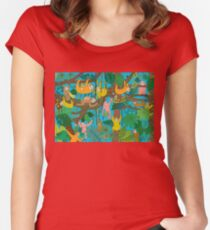 Happy Sloths Jungle  Women's Fitted Scoop T-Shirt