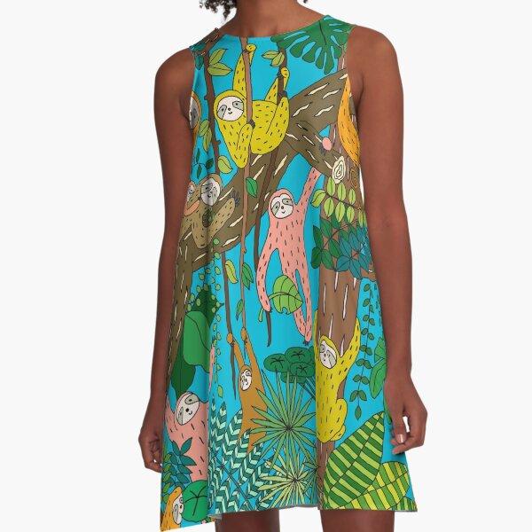 Happy Sloths Jungle   A-Line Dress