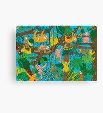 Happy Sloths Jungle  Canvas Print