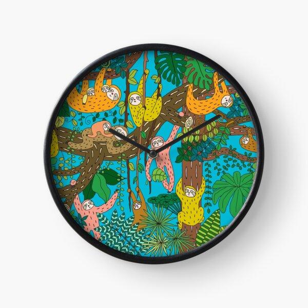 Happy Sloths Jungle   Clock