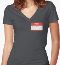 Hello badge (Violet) Women's Fitted V-Neck T-Shirt