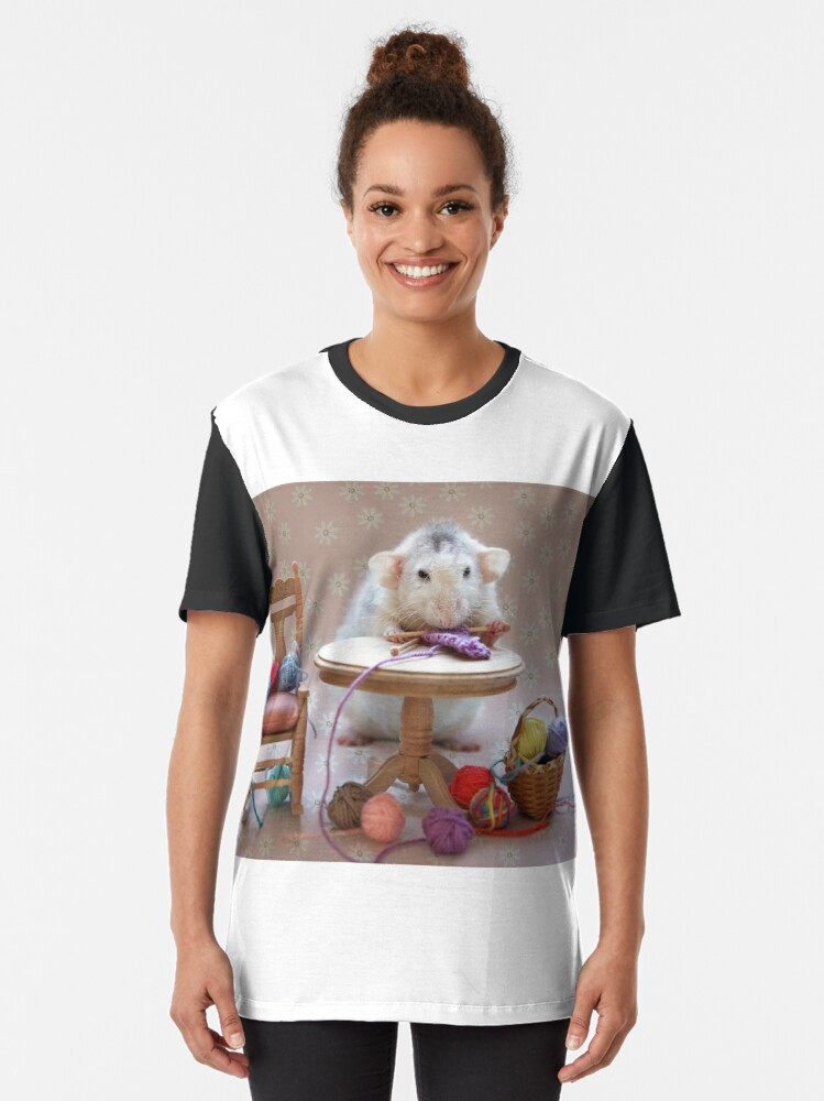 Alternate view of Rosie's first knitting lesson! Graphic T-Shirt