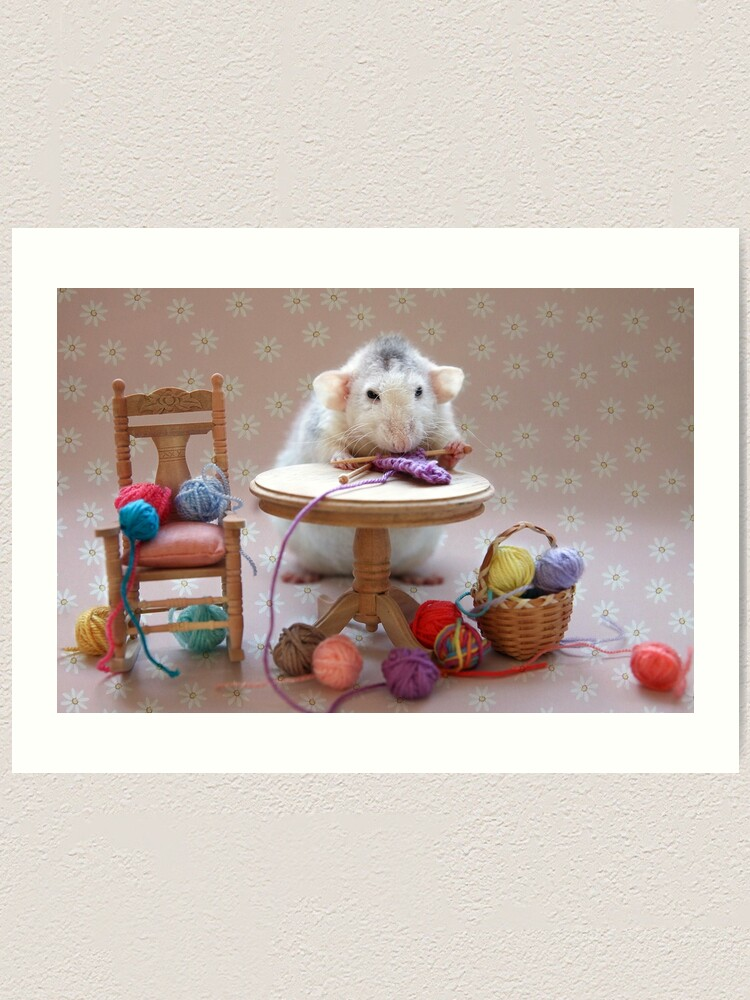 Alternate view of Rosie's first knitting lesson! Art Print