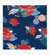 Hand drawn floral seamless background pattern inspired by Asia and Japan  Photographic Print
