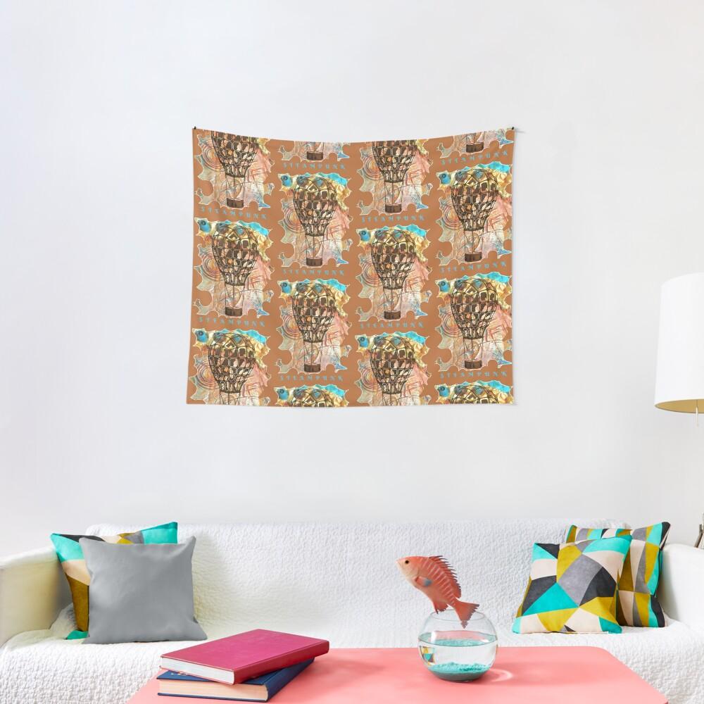 STEAMPUNK AIRSHIP BALLOON Tapestry