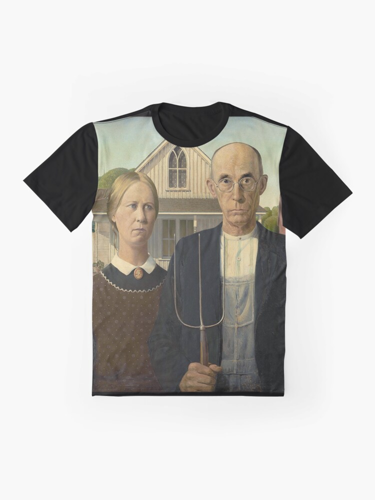 American Gothic Painting By Grant Wood Art Institute Of Chicago On Black T Shirt By Tomsredbubble Redbubble