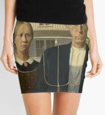 American Gothic, American, Gothic, Painting by, Grant Wood, Art Institute of Chicago. on BLACK Mini Skirt