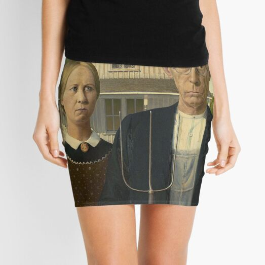 American Gothic. Painting by Grant Wood. Art Institute of Chicago. On BLACK. Mini Skirt