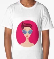Stylish young beautiful girl portrait wearing trendy sunglasses Long T-Shirt