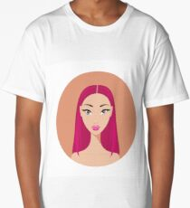 Young Asian woman with dyed red hair looks Stylish Beautiful Long T-Shirt