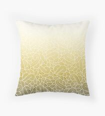 Ombre yellow and white swirls doodles Throw Pillow