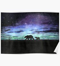 Aurora borealis and polar bears (dark version) Poster