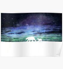 Aurora borealis and polar bears (light version) Poster