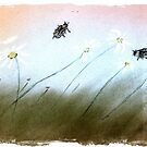 summer breeze, daisies, bees-oh my! by coralmoonstudio