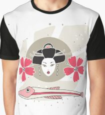 Modern style Japanese background with Geisha Flowers and Fish Graphic T-Shirt