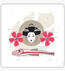 Modern style Japanese background with Geisha Flowers and Fish Sticker