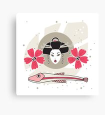 Modern style Japanese background with Geisha Flowers and Fish Canvas Print