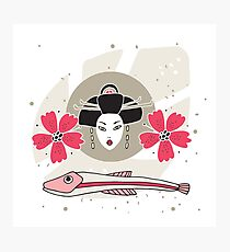 Modern style Japanese background with Geisha Flowers and Fish Photographic Print