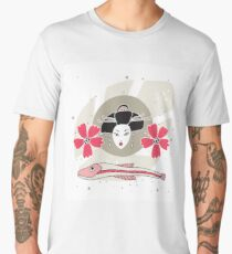 Modern style Japanese background with Geisha Flowers and Fish Men's Premium T-Shirt