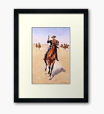 WESTERN, The Trooper, American Artist; Frederic Remington, 1892 Framed Print