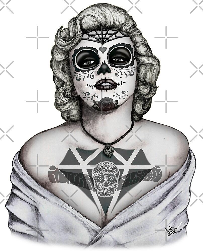 Marilyn sugar skull b&w !!! by AdrianFilmore