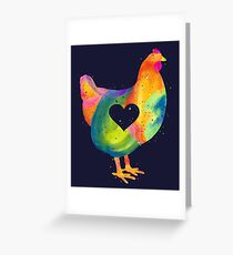 Chicken Love / Colorful Farm Chicken / Mama Hen (Mother, Mom, Mum, Mother's Day) Greeting Card