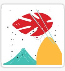 Modern style Japanese background with Asian girl and mountain Fuji Sticker