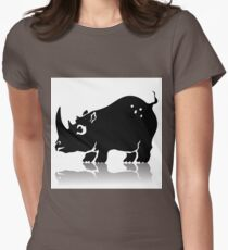 Illustration with Silhouette of Rhinoceros on a White Background  for your Design. Womens Fitted T-Shirt