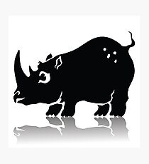 Illustration with Silhouette of Rhinoceros on a White Background  for your Design. Photographic Print