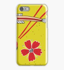 Noodles bowl with chopsticks and fish Colorful banner Asian cuisine iPhone Case/Skin