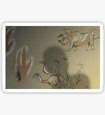 Dinosauroid Cave Painting - Speculative Evolution Sticker