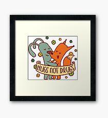 Hugs Not Drugs Cute Animals with Cartoon Rabbit and Fox Framed Print