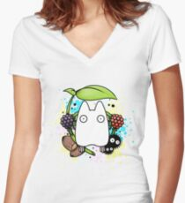 Chibi Totoro Women's Fitted V-Neck T-Shirt