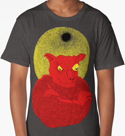 Red Cat Demon up to no good under a bad moon Long T-Shirt