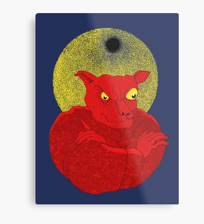 Red Cat Demon up to no good under a bad moon Metal Print