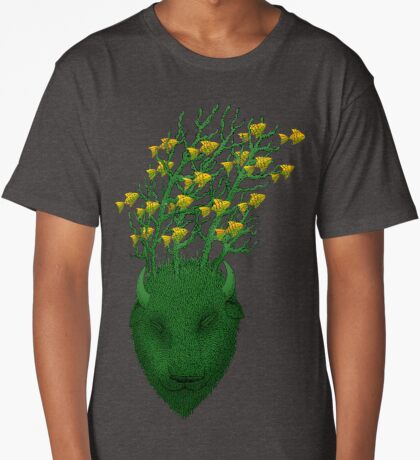 Sea Buffalo Dreaming Green Heart  Long T-Shirt