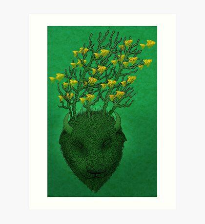 Sea Buffalo Dreaming Green Heart  Art Print